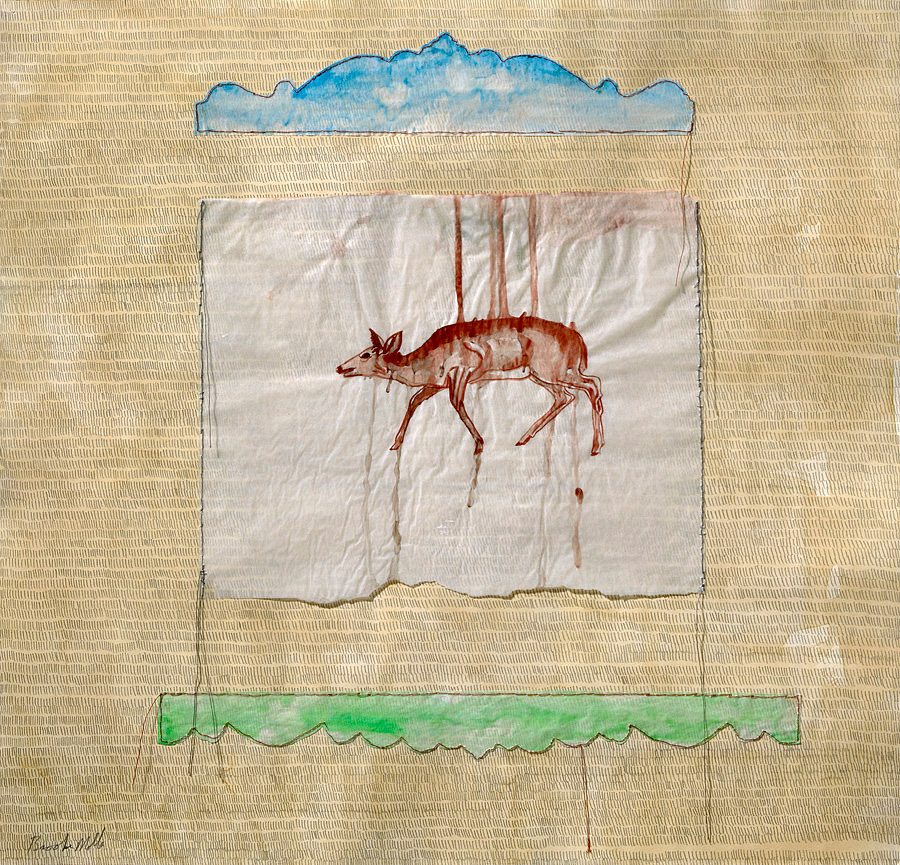 Brooke Molla, Calendar Garden; Silence, gouache on tissue paper hand sewn onto tea stained paper with pencil marks, 2016