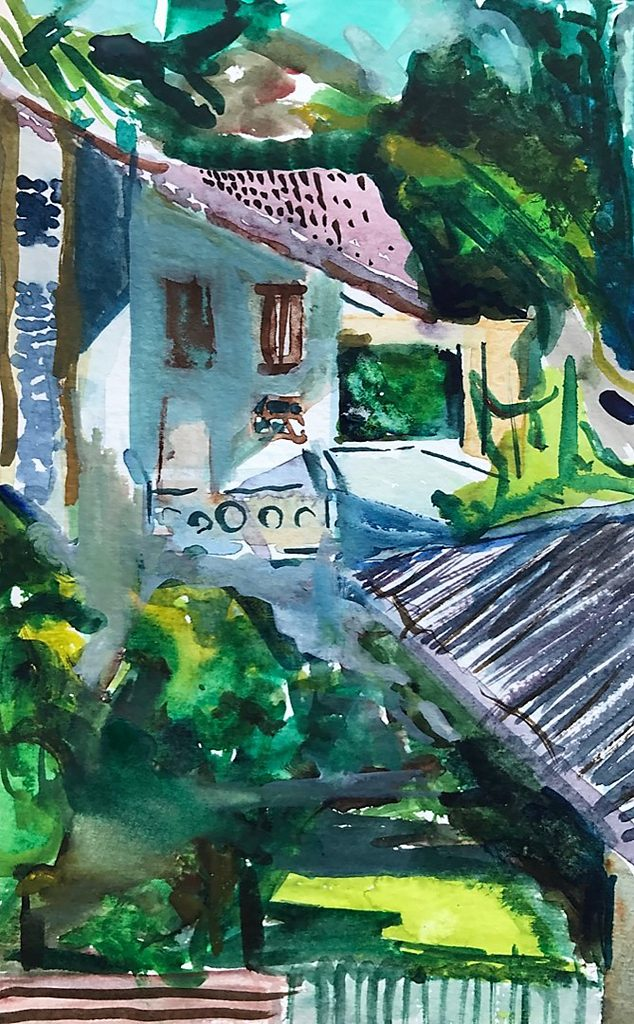 Frederic Proctor, Chit Lum, Bangkok, Thailand, watercolor on paper