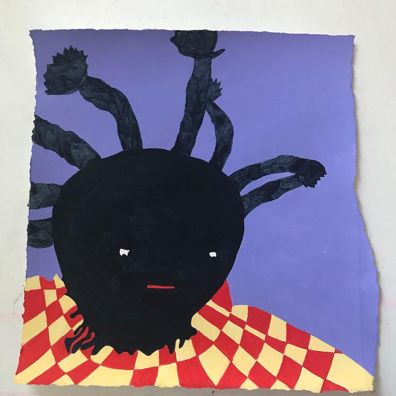 Karmimadeebora McMillan, Doll, acrylic on paper, 2017