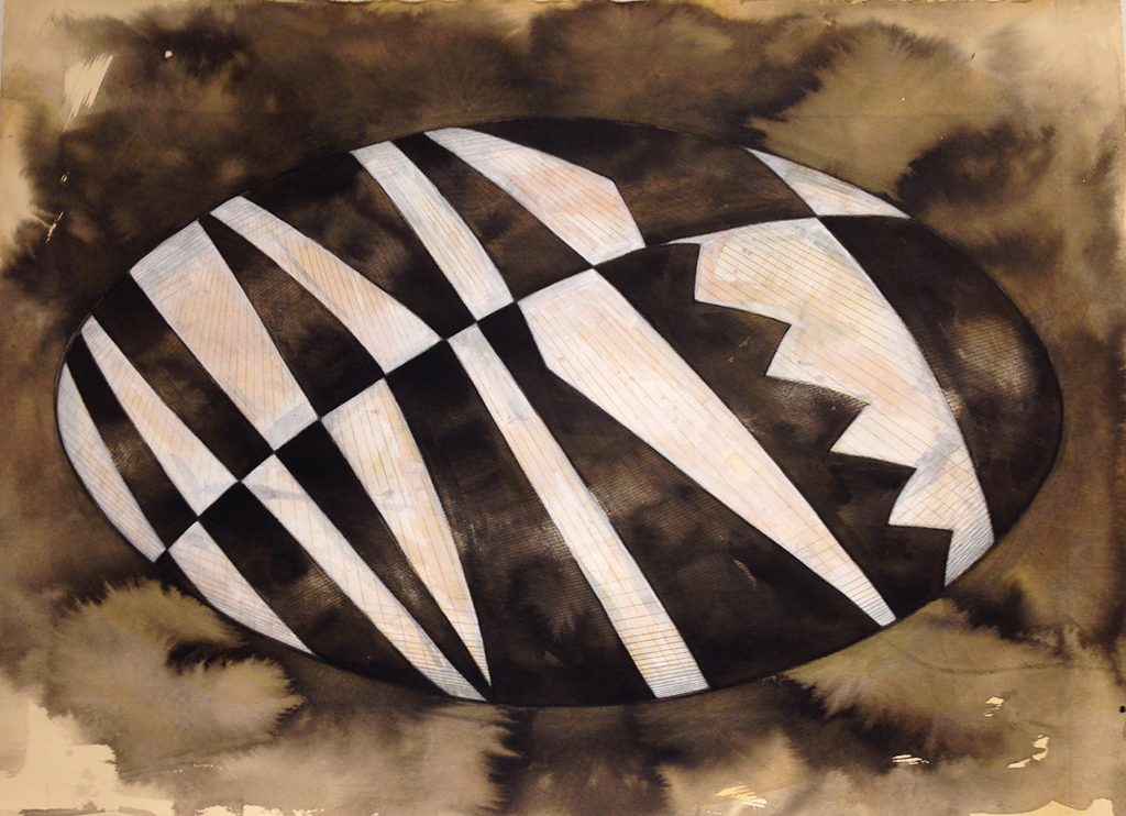 Kevin Haran, UFO 10, charcoal, ink and acrylic on Arches paper, 2017