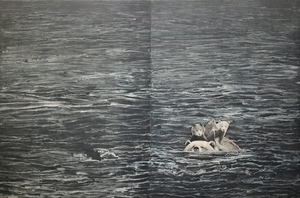 Mary Hood, Swimming, photogravure with white ground aquatint and monotype, 2016