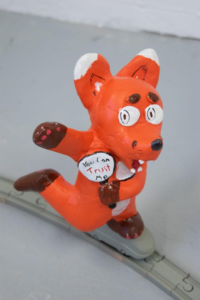 Fibbing Fox - Ryne Ormond, epoxy clay, found objects, acrylic paint