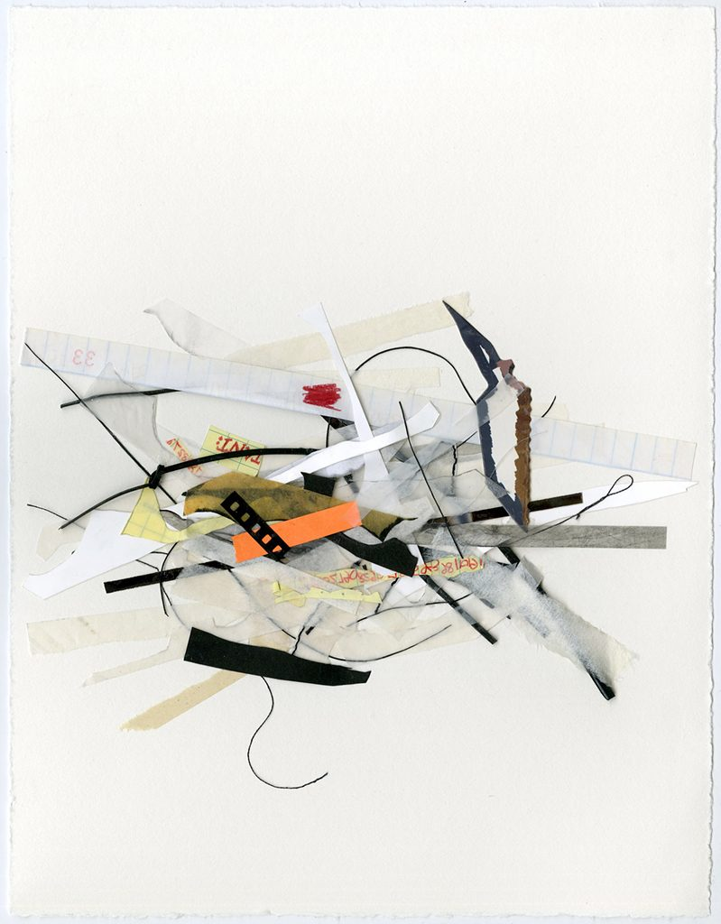 Therese Bauer, Unorganized pile, mixed media collage on paper, 2016