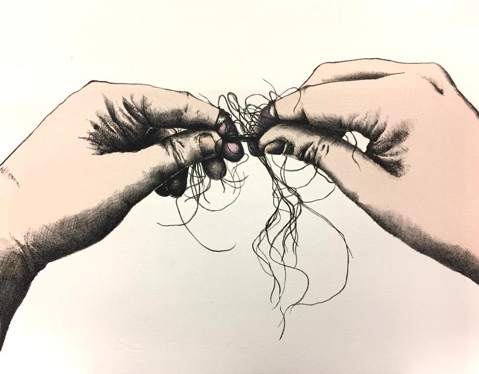 Stephanie Alaniz, Caught By the Short Hairs, lithograph & screenprint, 2017