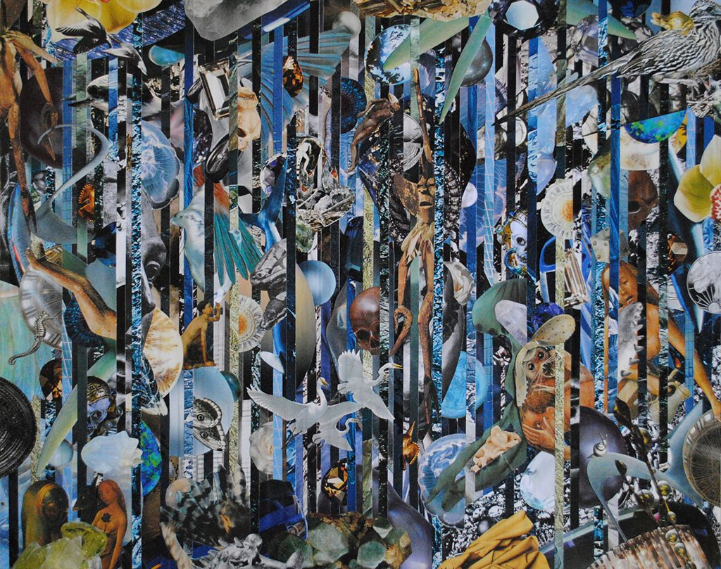 Colleen Cunningham, The Temptation of Blue, paper collage, 2017