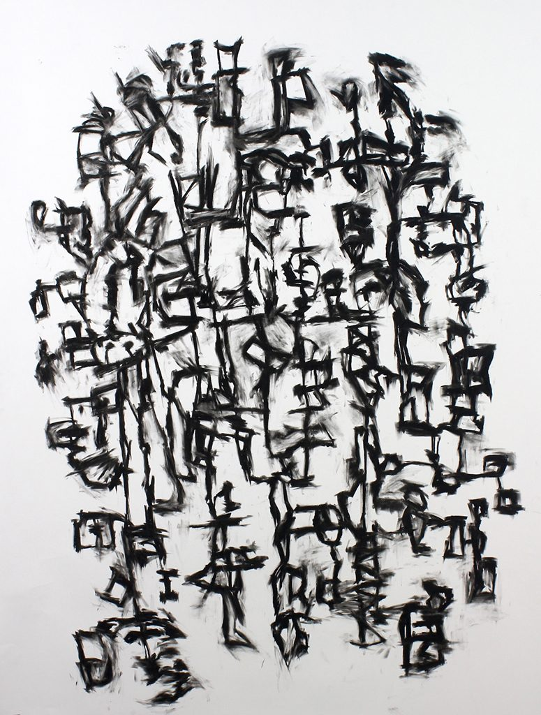 Garland Farwell, Cipher #68, charcoal on paper, 2017