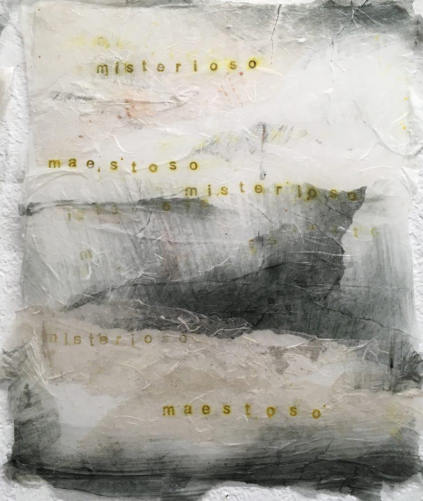 Janice Nakashima, misterioso, maestoso, paper, ink, gel medium, 2017