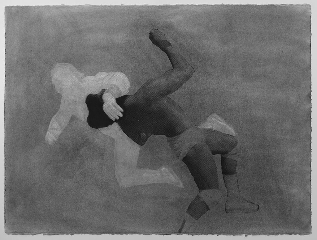 Judith Baumann, Flaying Clothesline (from the Cheap Heat series), graphite powder drawing and dusted serigraph, 2017
