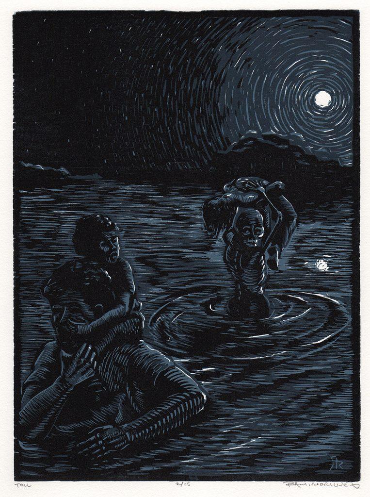 Ramiro Rodriguez, Toll, linoleum reduction relief print, 2016