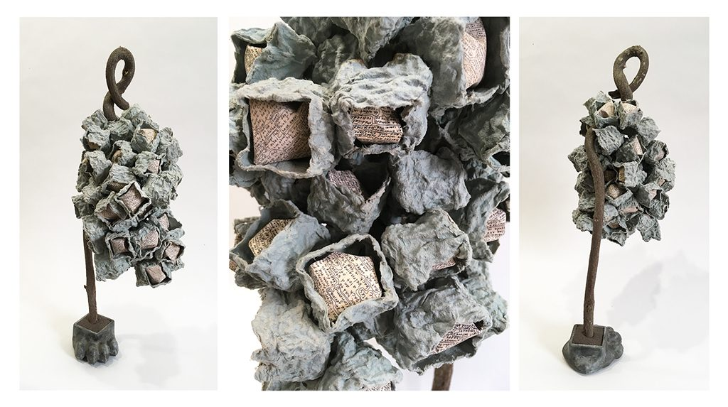 Sue O'Donnell, Nest, mixed found objects w/text, 2016