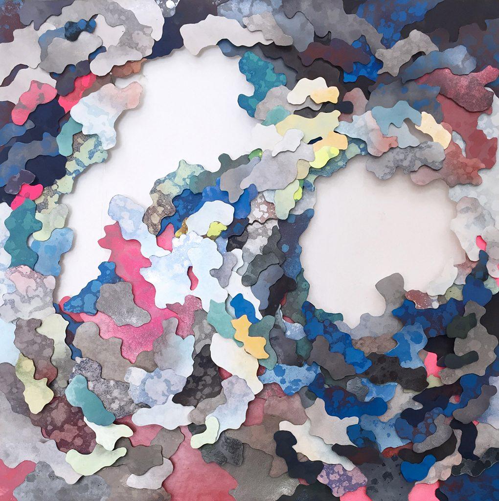 "Julie Greenburg, System XII Grace: ""Became Slowly Less Impressive"", mixed media screenprint on cut paper, 2016"