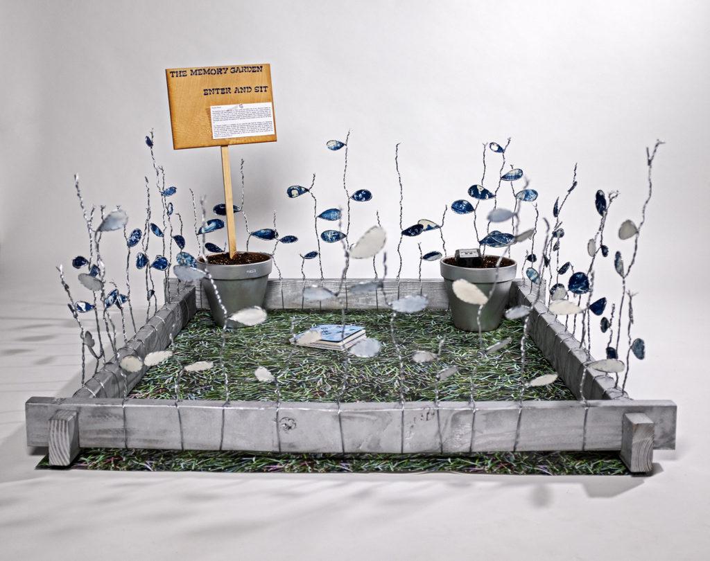 The Memory Garden - Rachel Roser, mixed media (wire, wood, cyanotypes, string)