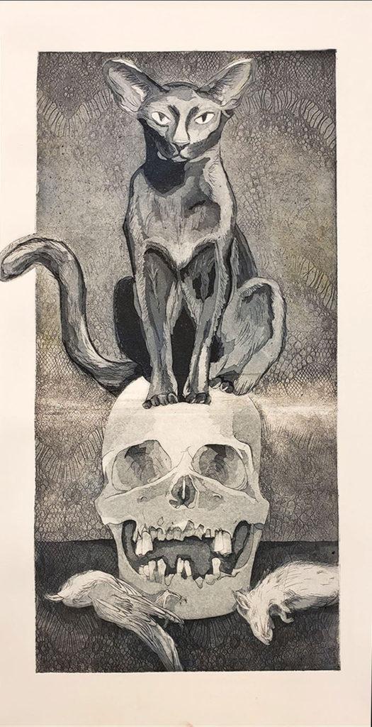 Death's Doorstop - Elizabeth Hardy, intaglio print