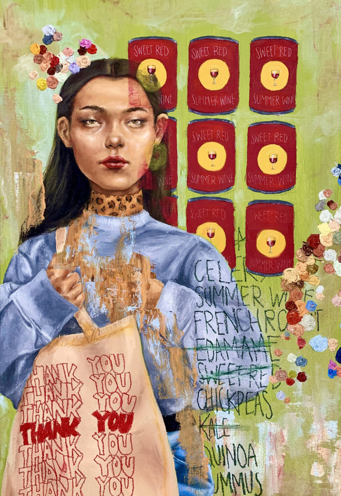 A Woman's Quintessential Guide to Grocery Shopping - Jessica Wyllie, oil paint on canvas