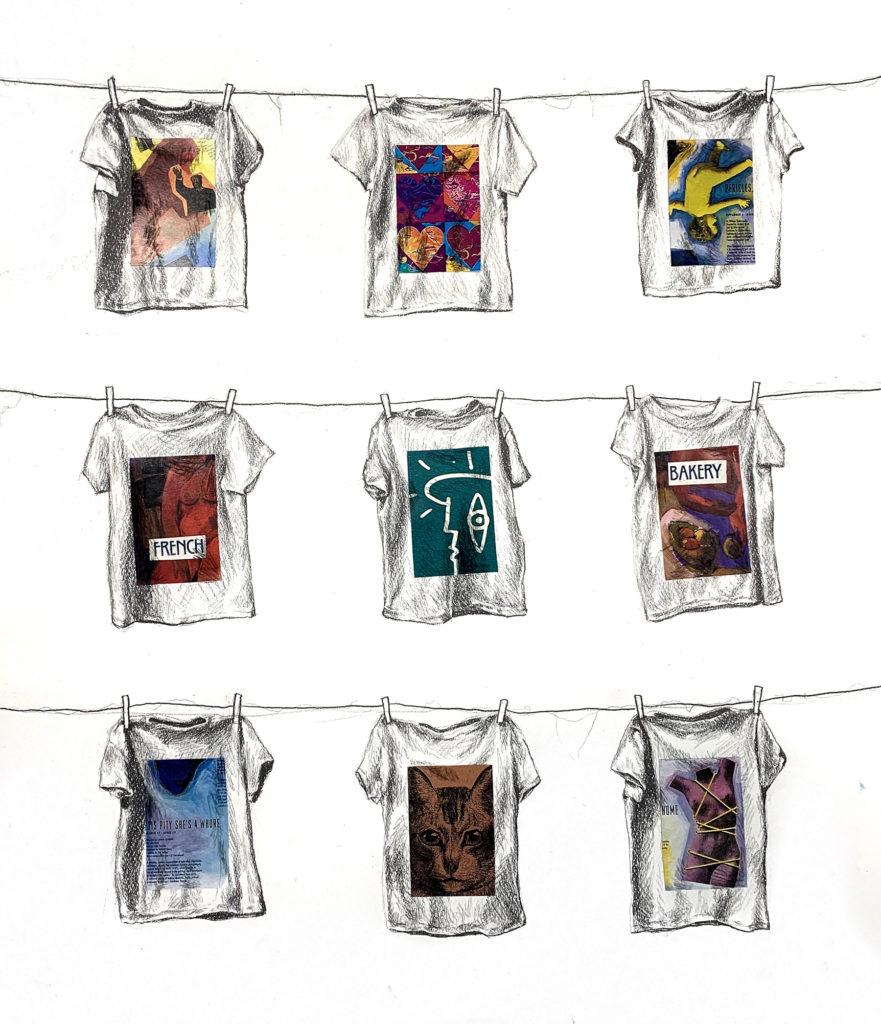 Shirts I Wear to Sleep - Jessica Wyllie, graphite and magazine on illustration board