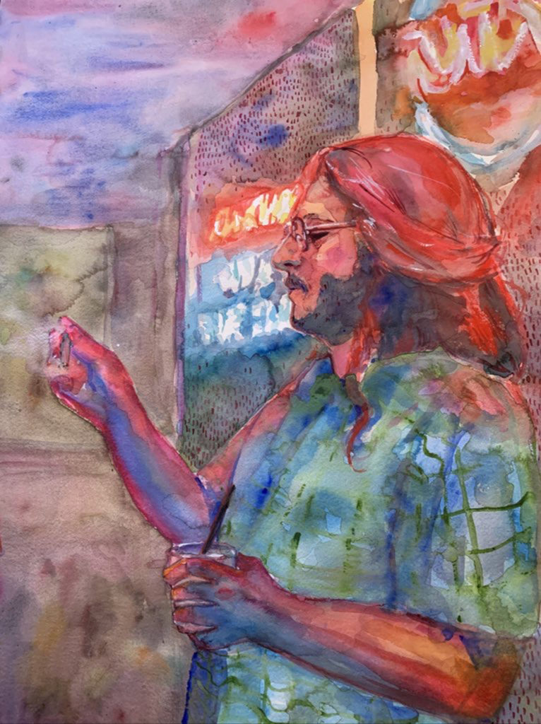 Nighttime Reflection - Kate Wilhite, watercolor on paper