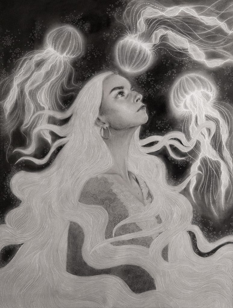 Luminescence, Aubrey Ellis, charcoal on toned paper