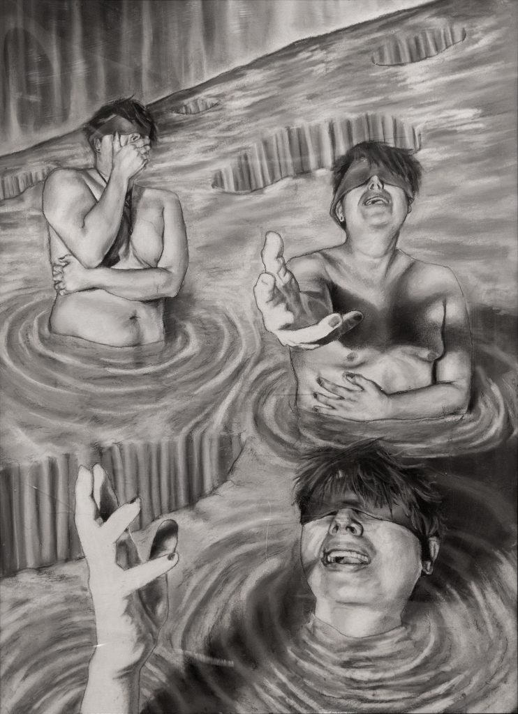 """Transversed Dimension, Nelson Morales, charcoal and pastel on paper, 24 x 35"""""""