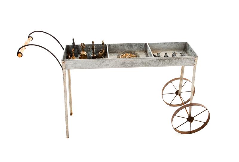 Metaphysical Handcart; 2011, bronze, brass, steel, olive leaves
