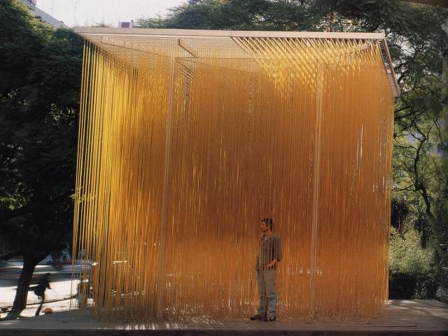 "Penetrable Amarillo (Yellow Penetrable); Jesús Rafael Soto, 1973 CE (and 1995 CE), iron, acrylic, and nylon, 204-3/4 x 204-3/4 x 204-3/4"""