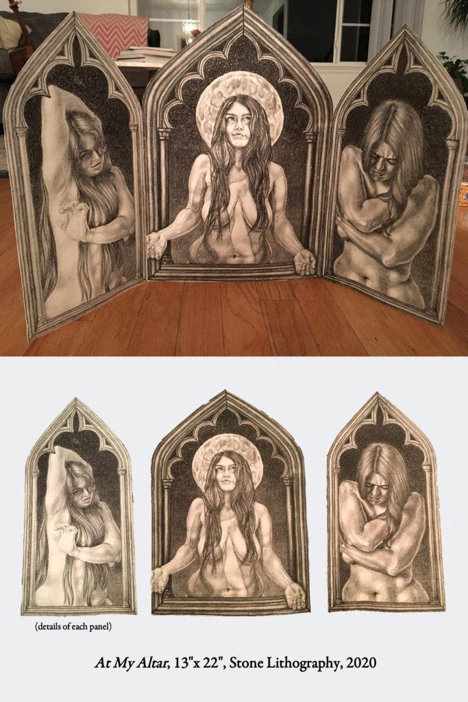 At My Altar - Tressa Marre, stone lithograph
