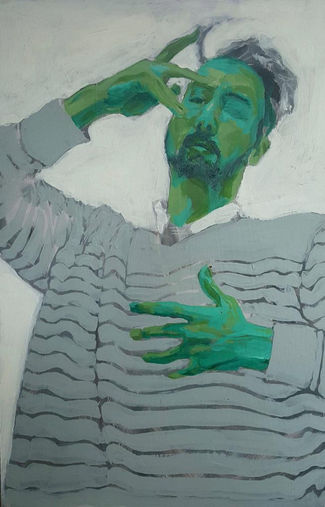 Green Selfie - Isaak Wilhelm, acrylic on wood panel, 3' x 2'