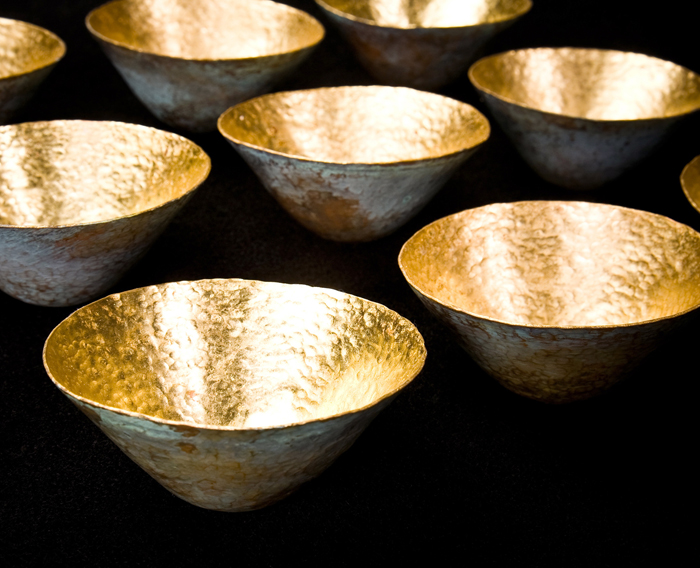 Offering; Beth Krensky, 2005-2007, copper, gold leaf and soil from Israel, 2 x 12 x 12