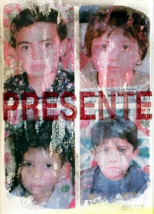 Presente II; Beth Krensky, 2003, photo transfer and embroidery, 14 x 10