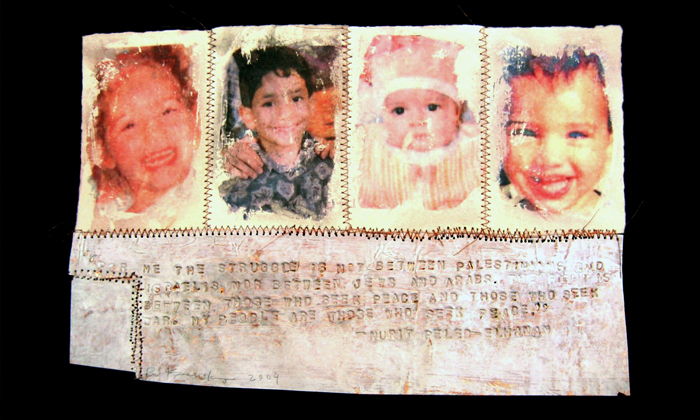 Where Are My People?; Beth Krensky, 2004, photo transfer, paint and thread on copper, 8 x 11