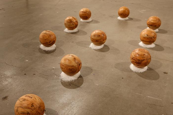 Matriarchs; Beth Krensky, 2007, olive wood and Dead Sea salt, 14 x 60 x 120