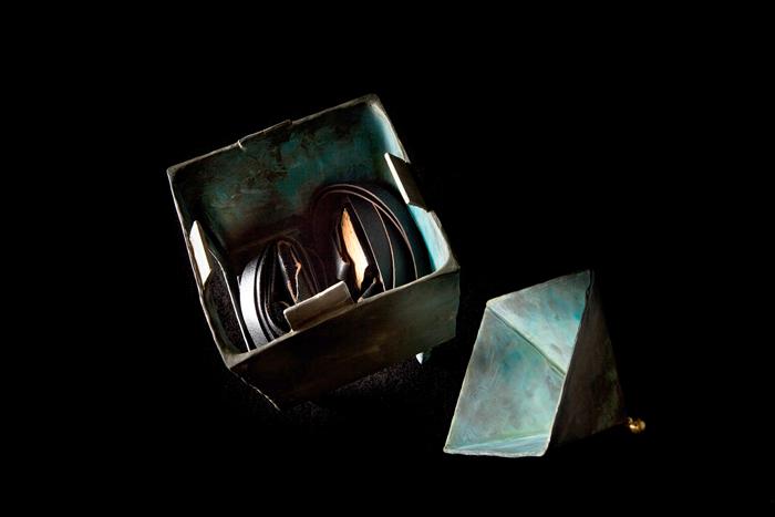 Reliquary I (detail); Beth Krensky, 2009, bronze, gold leaf, mica and tefillin, 14 x 5 x 5