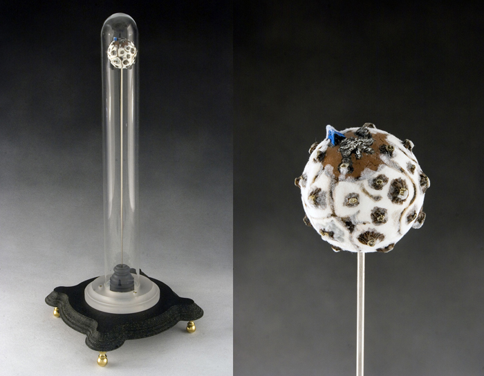 For Another Night of Warmth (and detail); Paul Stout; glass, plastic, stainless steel, putty, paint, flocking, 18 x 12 x 12