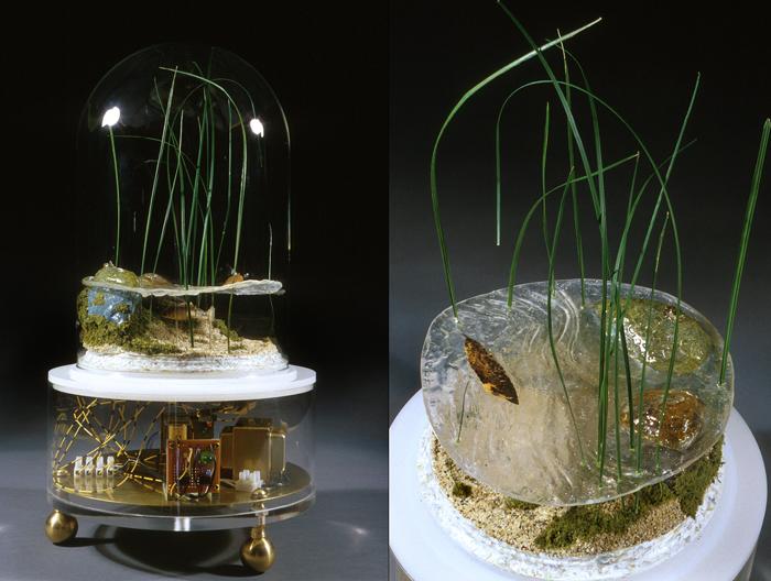 Untitled (The New American Landscape); Paul Stout, plastic, brass, glass, steel, Styrofoam, preserved plants, sand, mechanical fish, H: 20