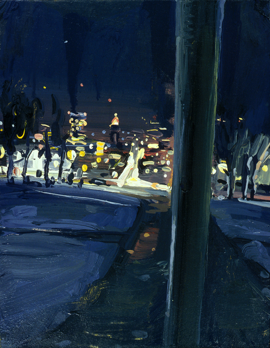 Pole; John Erickson, 2005, latex on masonite, 11 x 14