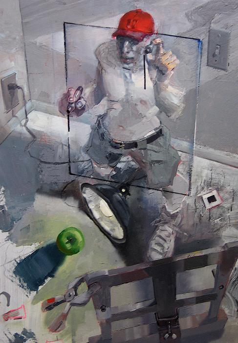 Picture Plane; John Erickson, 2009, latex and oil on masonite, 36 x 48