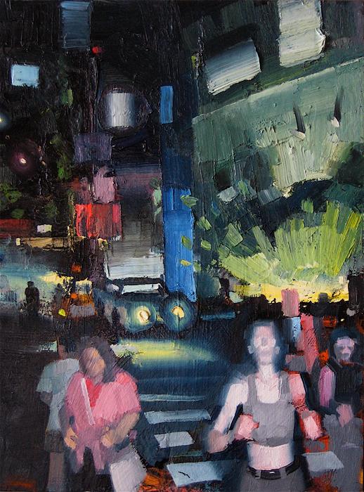 Night Jogger; John Erickson, 2008, oil and latex on masonite, 11 x 14