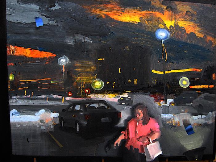 Shopping; John Erickson, 2009, oil and latex on masonite, 18 x 24