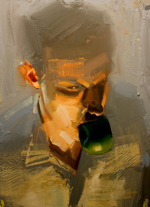 Adam; John Erickson, 2008, oil and latex on masonite, 18 x 24