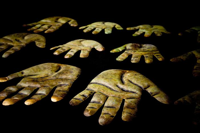 Hamsa; Beth Krensky, 2007, copper, gold leaf, 36 x 30 x 1/2