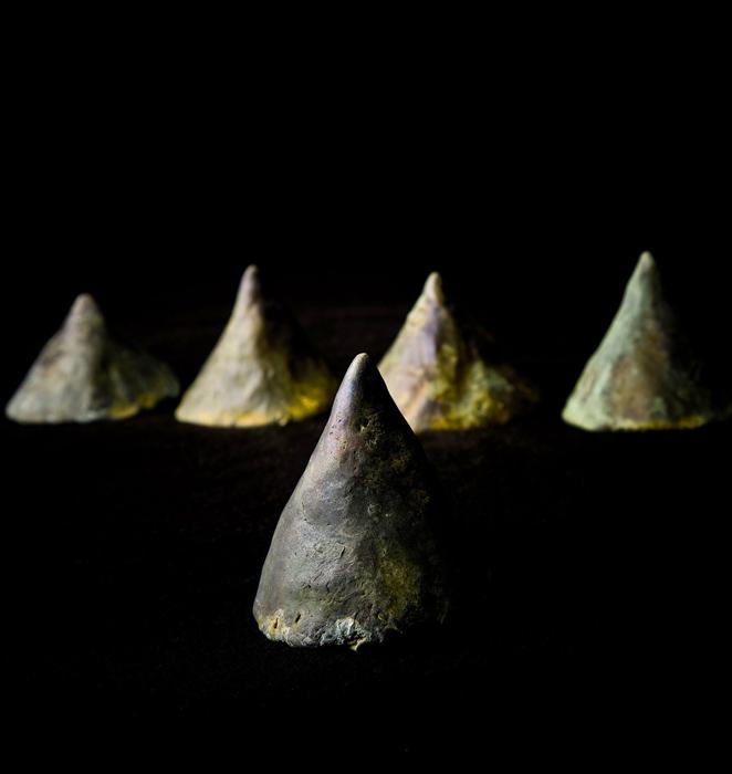 Pileum Cornutum; Beth Krensky, 2007, bronze, (5) each 3-1/2 x 3 x 3