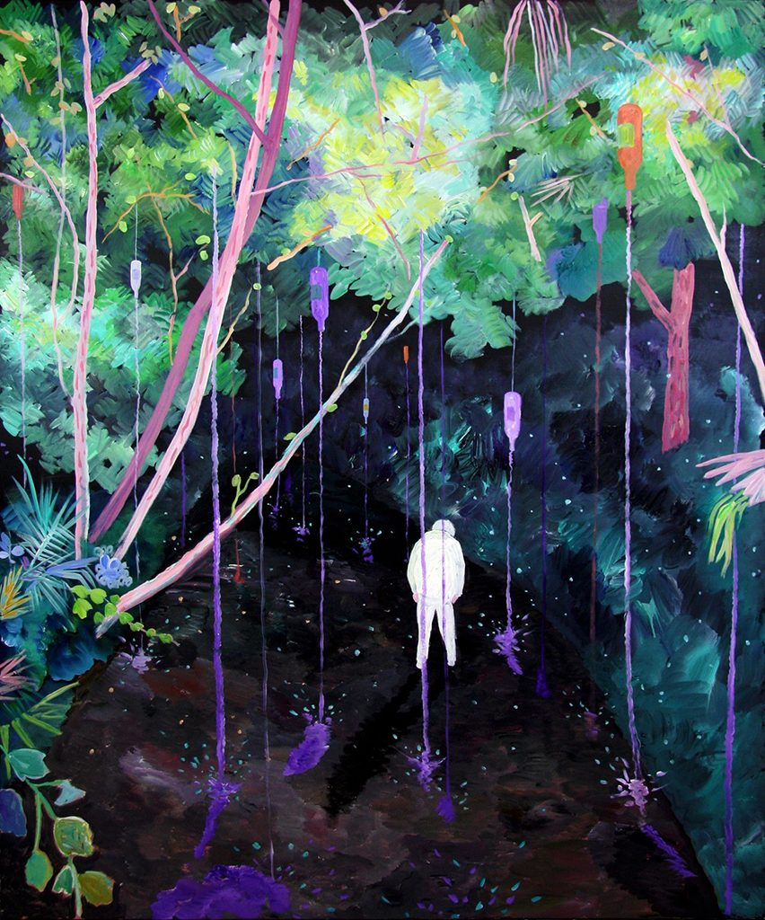 Purple Rain, Acrylic on canvas, 72 x 60 inches, 2017