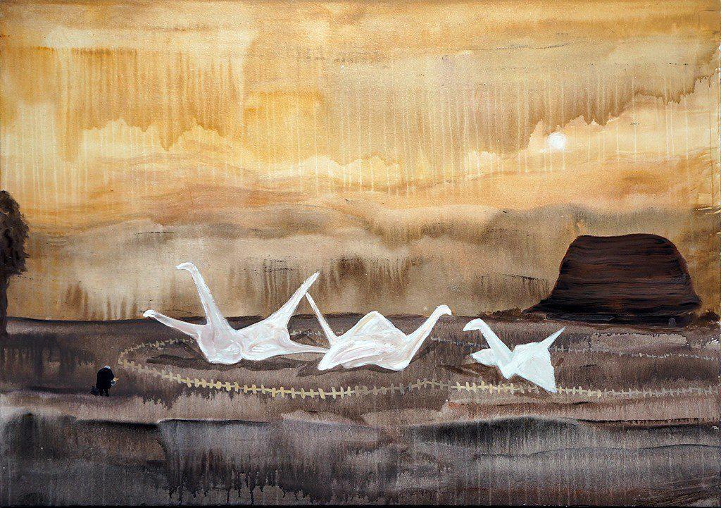 "Paper Cranes, Acrylic on Canvas, 43 x 60"", 2016"