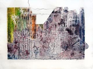 "Roadblocked, collagraph print, 22x30"""