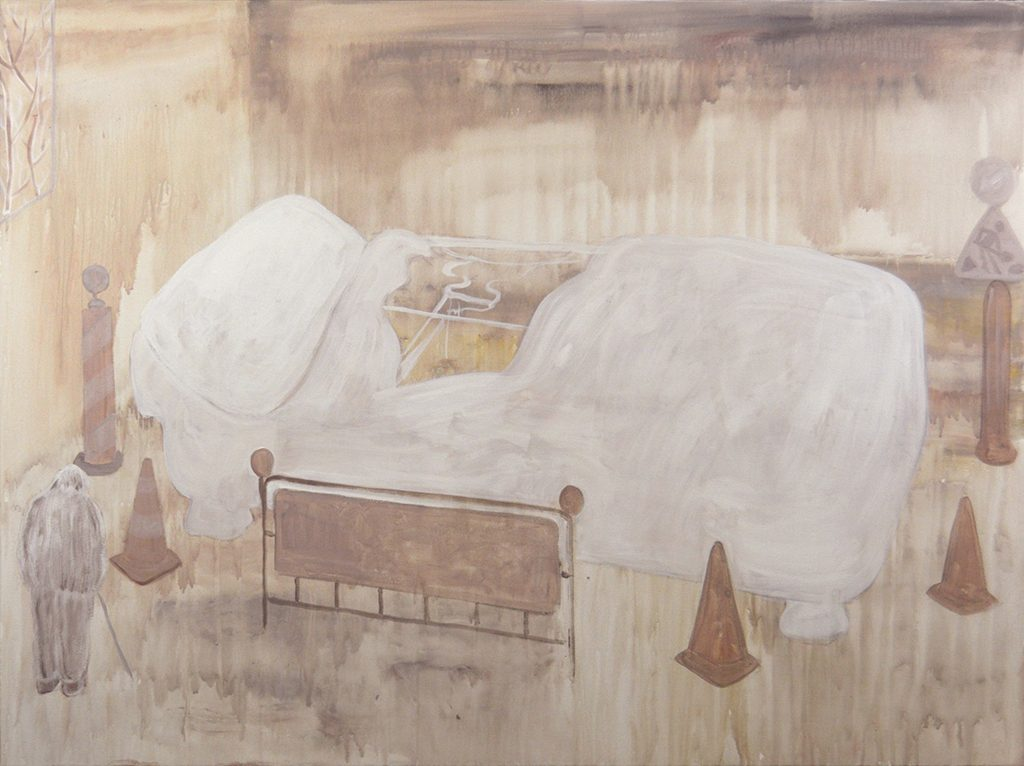 """White Bed, Acrylic on Canvas, 36 x 48"""", 2016"""