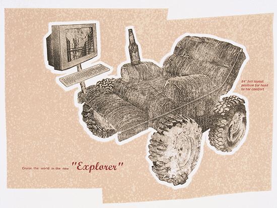 The New Explorer. Photo Polymer Intaglio & Screenprint. 2003.