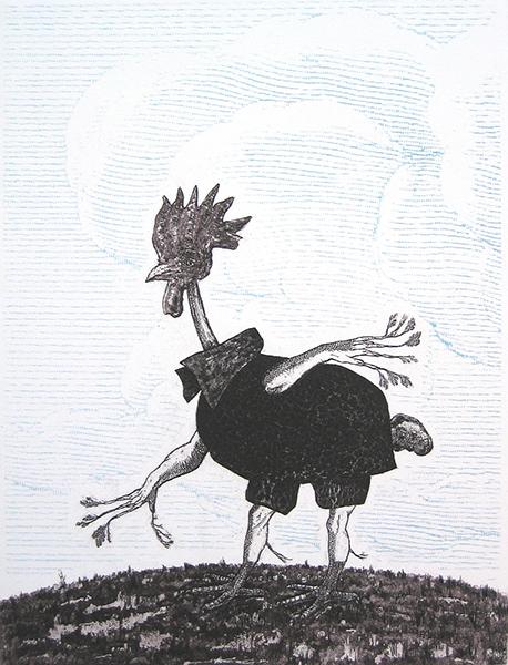 Featherless Avian Mammalian Hybrid. Etching & Screenprint. 2006.