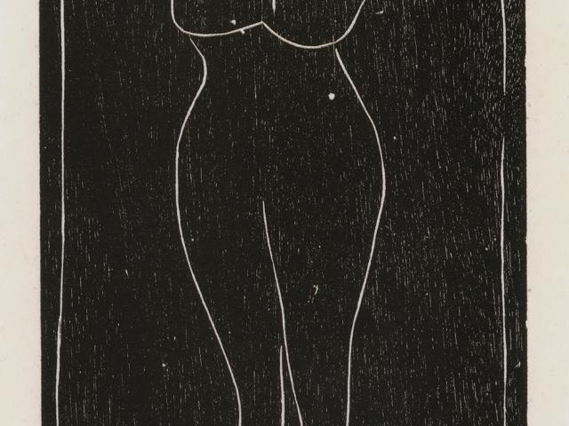 """Body Woman; Emilia Prieto, c. 1934 CE, woodcut, 7 x 4"""""""