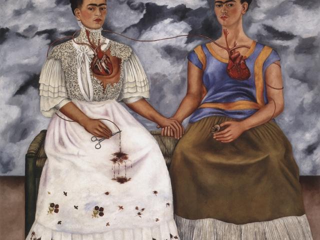 "The Two Fridas; Frida Kahlo, 1939 CE, oil on canvas, 68-3/8 x 68-1/2""; Museo de Arte Moderno, Mexco City (Mexico)"