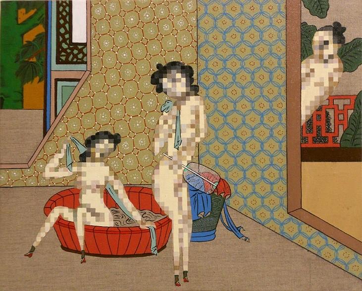 """The Bath 2, 16 x 20"""", Acrylic on Linen, 2010"""