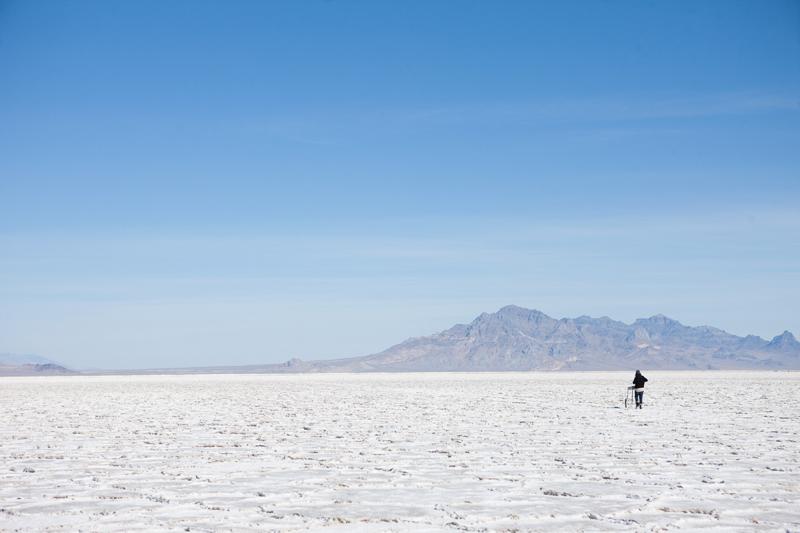 Metaphysical Handcart; 2012, performance, Bonneville Salt Flats, Tooele County, Utah
